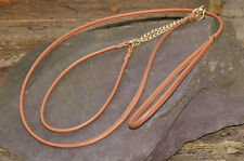 Dog Show Lead and Collar Soft Nappa Luxury Leather - Light Brown/Caramel
