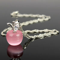 925 Sterling Silver  PINK OPAL Apple Pendant Singapore Chain Necklace Jewelry UK