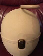 Vintage wig/hat travel case hard plastic Cream Colored