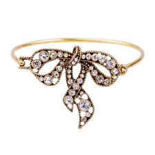 N516 Crystal Embellished Brass Bowknot Hinge Bracelet Vintage Gold Bangle Cuff