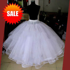 Full white 6 Layer Hoopless Prom Wedding Crinoline Bridal Party Petticoat Dress