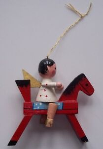 Vintage Antique Wooden ANGEL RIDING HORSE Christmas Tree ORNAMENT