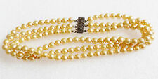 """VTG 3 strand cream color pearl faux beads sterling clasp 14"""" choker necklace"""