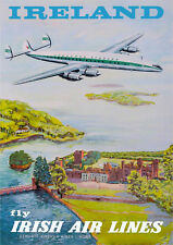 Vintage Ireland Fly Irish Airlines Travel Poster Print A3 A2 A1
