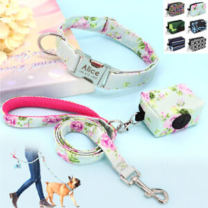 Nylon Printed Personalized Dog Collar and Leash Set with Pet Poo Bag Dispenser