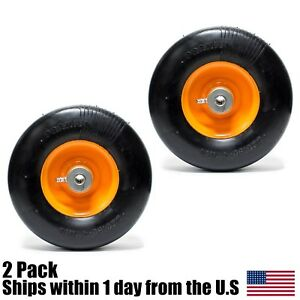 2PK Flat Free Solid Tire for Scag Mowers Front Caster Wheel 9x3.50-4