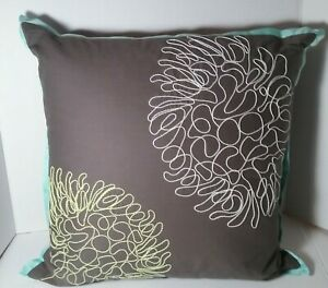 DKNY Outline Scroll Square Toss PILLOW Embroidered Grey Green White Blue