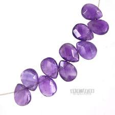 10 Purple Amethyst Faceted Pear Flat Teardrop Briolette Beads ap.8 x 10mm #15225