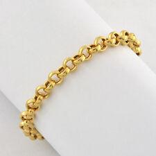 "Vintage 14k Fine Gold Round Links Chain Bracelet Polished Finish 7 1/ 4"" Long"