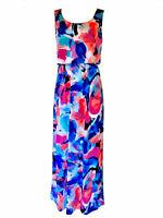 Nina Leonard Printed Flounce Bodice Empire Waist Maxi Long Dress Women's S & M