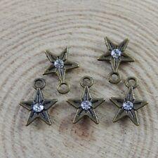 100pcs Antiqued Bronze Alloy Pentacle Star Rhinestone 8mm Pendant Charms 32704