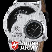 Shark Army Men's Dual Movement Date Black Leather Military Sport Quartz Watch