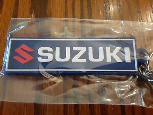 """Suzuki Motorcycle Keychain Key Chain blue white GSXR 3"""" Rubber fob"""