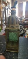 VINTAGE METAL CANDLE STICK LANTERN WITH COLORED GLASS