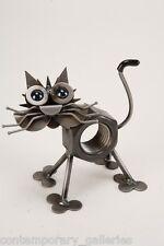 Yardbirds Unpainted Recycled Scrap Metal Chubby Nut the Cat Sculpture Handmade