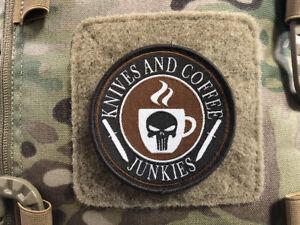 Knives and Coffee Junkies Punisher Patch, gewebter Patch, Sammlerpatch