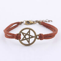 New Inspired Bracelet Retro Bronze Pentagram Pendant Brown Rope Bracelet SD