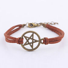 New Inspired Bracelet Retro Bronze Pentagram Pendant Brown Rope Bracelet LA