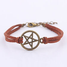 New Inspired Bracelet Retro Bronze Pentagram Pendant Brown Rope Bracelet YJ