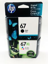 HP 67/67XL Black/Tri-color Ink Cartridges, Pack Of 2 Cartridges