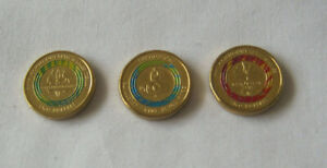 3 x 2 dollar Australian coins green red decimal currency mixed lot