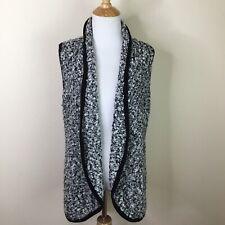 Dressbarn Women's Black White Knit Open Front Sweater Sleeveless Size Medium M