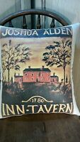 VINTAGE PRIMITIVE ANTIQUE FOLK ART COLONIAL STYLE 1780 JOSHUA ALDEN INN PILLOW