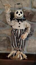 """NWT 16"""" Skull head Skeleton Jack O Lantern Scarecrow Figurine HALLOWEEN Decor"""