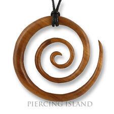 Grosser Amulett Anhänger Holz Kette Maori Koru Spirale Design inkl. Band PB349