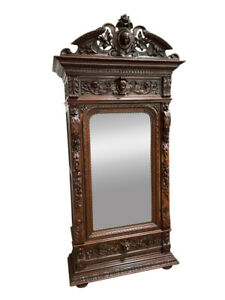 Exceptional Antique French Hunt Armoire, Mirrored, 19th Century, Oak