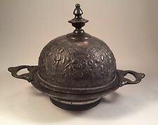 Antique Meriden Wilcox Silver Plated Domed Butter Dish~Repousse Putti, Tulips