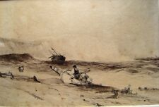 SEASCAPE WRECKERS ON A WINDSWEPT SHORE W/COL C1860
