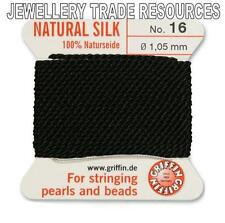 Black Silk String Thread 1.05mm for Stringing Pearls & Beads Griffin Size 16
