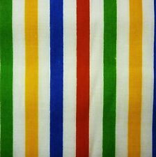 White & Bright Multi Stripe Primary Poly Cotton Fabric