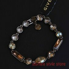 Givenchy Flex Bracelet Brown Gold Tone Amber Color Faceted Stones Crystal NEW