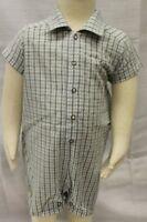 JACADI Boy's Macher Blue / Green Plaid Short Sleeve Romper Size 6 Months NWT $56