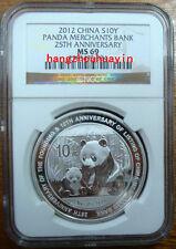 2012 1oz China S10Y panda merchants bank silver coin NGC MS69 with coa