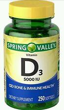 Spring Valley Vitamin D3 Supplement Softgels, 5000 IU, 250 Count