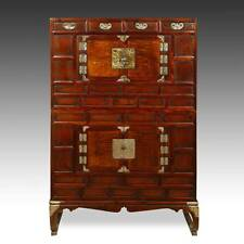 VINTAGE KOREAN BANDAJI 2-SECTION CABINET ELM PEAR WOOD BRASS MOUNTS EARLY 20TH C