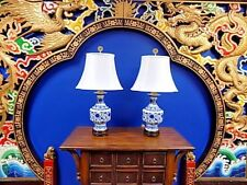 """EXQUISITE PAIR OF 30"""" TALL CHINESE BLUE & WHITE PORCELAIN  VASE LAMPS"""