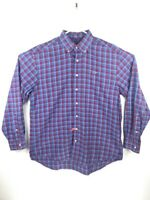 Vineyard Vines Mens Button Down Whale Shirt Blue Red Plaid Long Sleeve Cotton XL