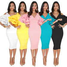 Women Evening Cocktail Dress Ruffle Sleeve Cold Shoulder Midi Skirt Bodycon Slit