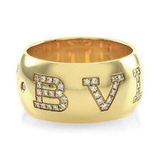 designer bvlgari monologo collection pav diamond band ring in 18ky gold fj