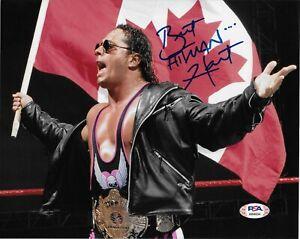 BRET HART WWE WCW HITMAN SIGNED AUTOGRAPH 8X10 PHOTO #10 W/ PSA/DNA COA