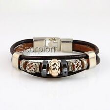 Leather Bracelet Tibetan Silver Unisex Surfer Tribal Goth Friendship Identity B9
