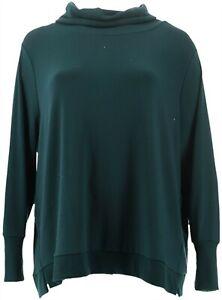 AnyBody Loungewear Plush Terry Cowl-Neck Top Pine M NEW A345169