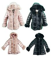 New Girls Kids Puffer Jacket Warm Bubble Hooded Detachable Fur Trim puffer Coat