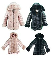 New Girls Kids Puffer Jacket Warm Bubble Hooded Detachable Fur Trim puffer Coat