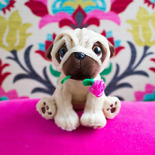 Cute Pug Dog with Rose in mouth, Soft Toy Pug, Valentines Gift, Soft Dog Toy
