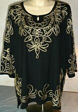NWT Catherines 3X Black 100% Cotton Tunic Top Gold Embroidered ~Stunning!